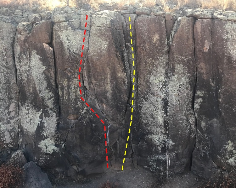 Twin cracks (yellow) is located to the right of S crack (red).  Twin cracks is also to the right of a small tree growing  just above S crack.