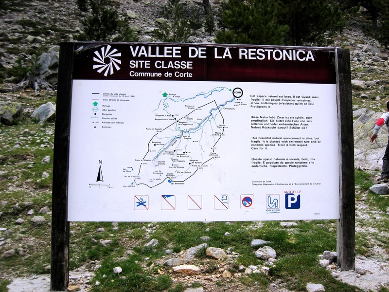 Overview map/sign for Restonica