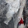 Alison contemplates the crux of Watt Rod, 5.12a.