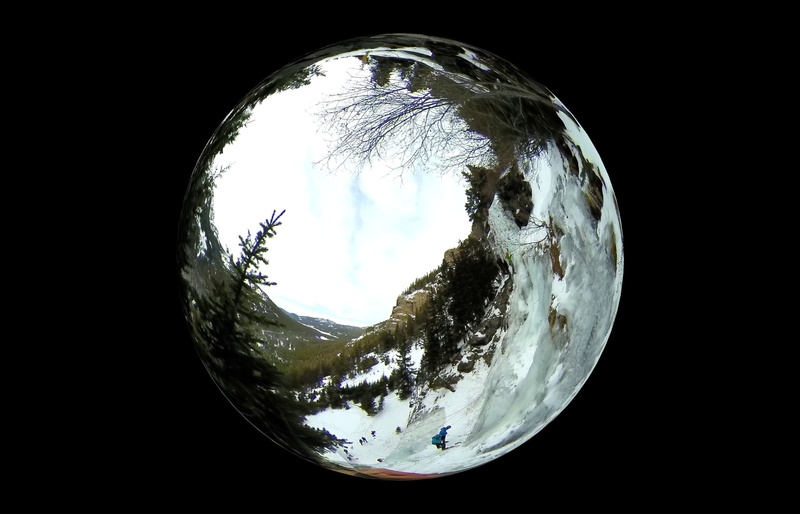 "Crystal Ball perspective  of G2  a screen capture from Insta 360 nano a Panoramic 360 VR camera Shot from 90 feet while I am anchored to the right side bolts Bozeman Ice Festival 2017 ""Leaving The Nest"" Clinic special mahalo (thank you) to CAMP USA instructors who led the clinic."