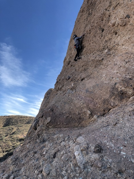 Approaching the crux. A high foot allows you to step high for a pocket.