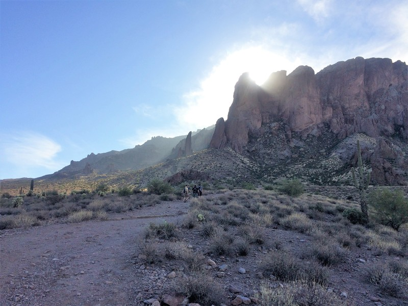 Treasure Loop Trail.  The Hand is the narrow fin above the hikers.