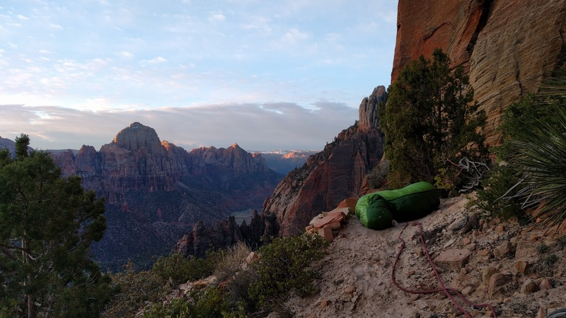 The caterpillar bivy below the headwall.
