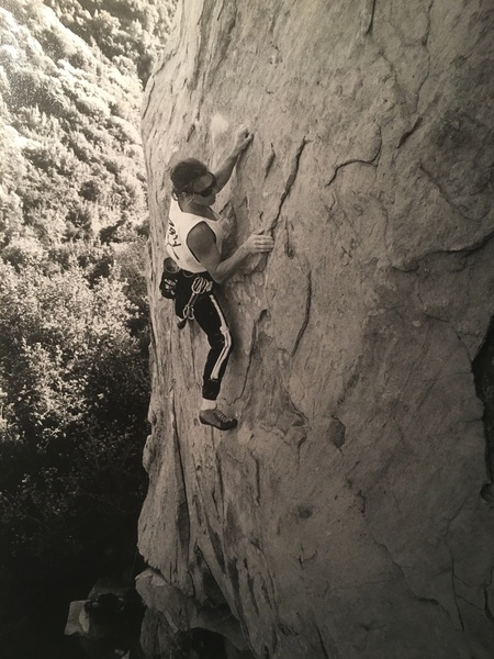 "Dave Griffith on the F.A. of "" Stormbringer "" 5.11b/c