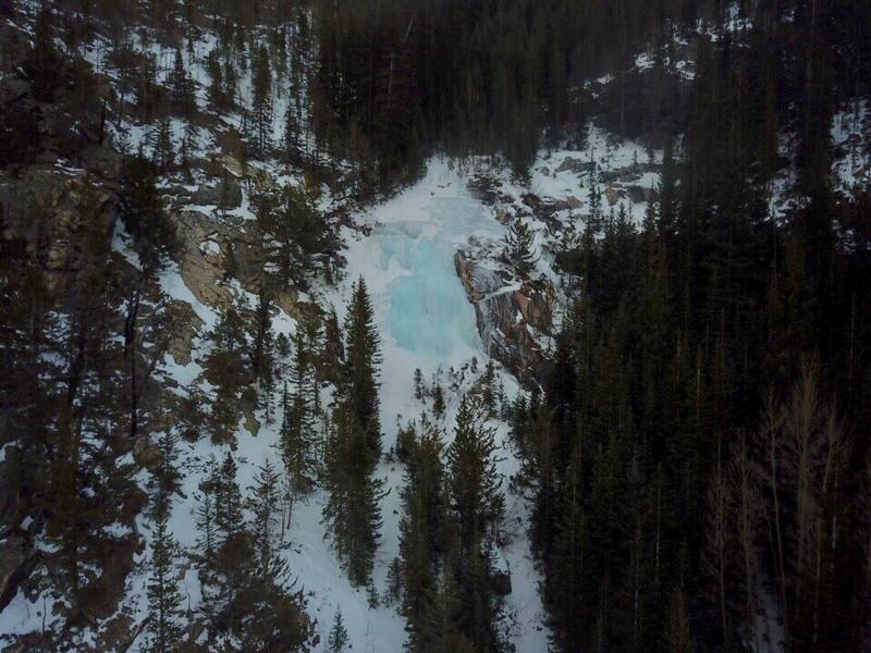 Aerial shot of falls.