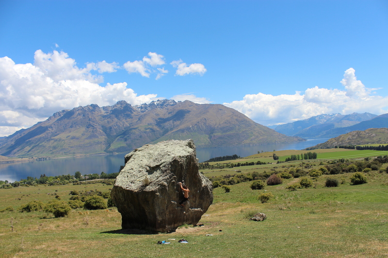 Christian crushing boulders in Jardine
