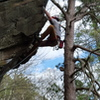 Climbing up the easy arete