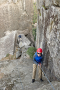 Rock Climbing Photo: Bryson Fienup rappels into the notch. on the Rostr...