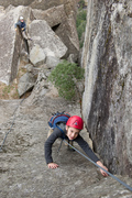 Rock Climbing Photo: Wesley Fienup climbs the corner-pitch back to the ...