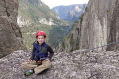 Rock Climbing Photo: Wesley (just 8 years old), poses in the Notch on t...
