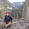 Wesley (just 8 years old), poses in the Notch on the Rostrum, Yosemite.
