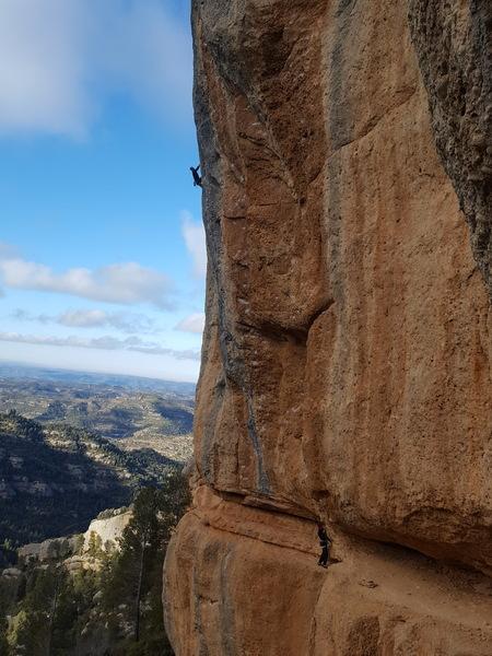 Pocket climbing at Margolef