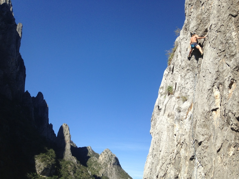 Andrew on his first 5.11 red point outside at El Potrero Chico