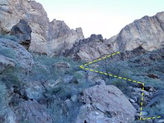 Looking at the uppermost portion of the main Palm Canyon. The approach line to the climb goes up and right on the obvious ramp.