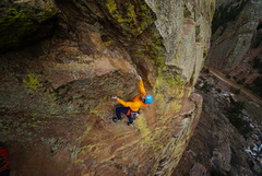 Entering the crux roof. Great black Totem/ green Alien down and left.