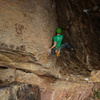Nick entering the crux on P2. Such a great climb!<br> <br> Photo: Marc Bergreen.