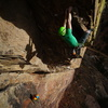 """Entering the """"5.10"""" moves to gain entrance to the headwall.<br> <br> Hint: They are solid 5.11!<br> <br> Photo: Marc Bergreen."""