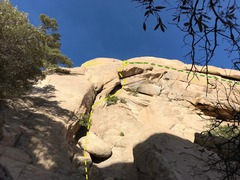 The path I took. It's still another ~70 feet past the roof to the belay. Shares belay with P2 of Moby Dick (green).
