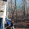 Nolan Fulton vetos the crescent crimp and gives the slopey crimp a go on...<br> <br> The Crescent(V4) B<br> Cherokee Bluffs, Alabama<br> Photo Credit: Eduardo Ramirez