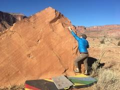Rock Climbing Photo: Moving through the short crux.