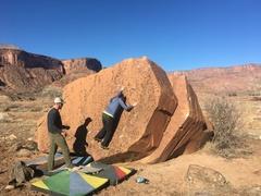 Rock Climbing Photo: Lela near the start of the problem.