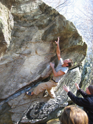 Rock Climbing Photo: Andrew Wilder pulling the first hard move.