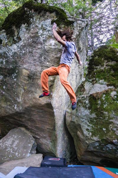 Brandon Savin almost topping out on Sharma's Arete.<br> <br> Photo by Dalton Johnson<br> www.daltonjohnsonmedia.com<br> @seek_shangri_la