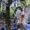Brandon Savin soon to repoint Sharma's Arete V9.<br> <br> Photo by Dalton Johnson<br> www.daltonjohnsonmedia.com<br> @seek_shangri_la