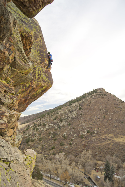 A free solo of this route.<br> <br> Photo by Keith North.