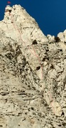 Rock Climbing Photo: This is the Topo.  The green line is a fixed line....