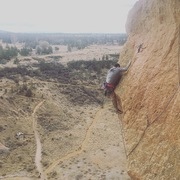 Pulling the crux of the second pitch.