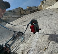 Rock Climbing Photo: Working up the slab. The whole route was done grou...