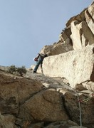 Rock Climbing Photo: Pitch 3: 11+ section thin corner.  One of the real...