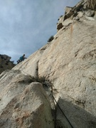 Rock Climbing Photo: Looking up at Pitch 4:  Head left and up as the cl...