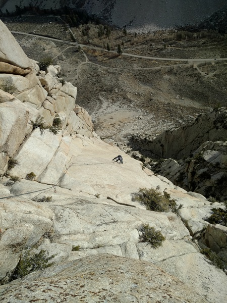 Looking down at pitch 4, the enduro slab pitch.  The descent raps are at the top of the corner seen in the left side of the photo