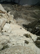 Rock Climbing Photo: Looking down at pitch 4, the enduro slab pitch.  T...