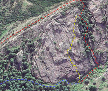 Topo for Garden Path. Blue line is approach from Bear Canyon. Yellow line is route. Red line is decent (1) down gully, with possible tree rappel near bottom or (2) up gully, short scramble down the back side at a break in the cliff, and down the back side.