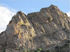 Rock Climbing Photo: Pitches 1-3. Finish on the West Face route