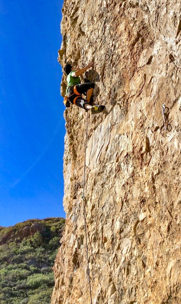Cliff T halfway up the route on a beautiful day.
