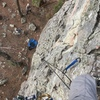 Me looking down from the bolt anchor. Nice 5.8 face trad (or at least I led it on gear instead of the 4 bolts)!