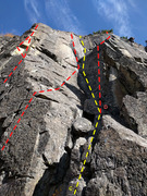 Routes A, B, C, and D at the Deja Vu area at the Matrix. Routes in red are well-bolted. The route is yellow is a traditional climb with bolted anchors.