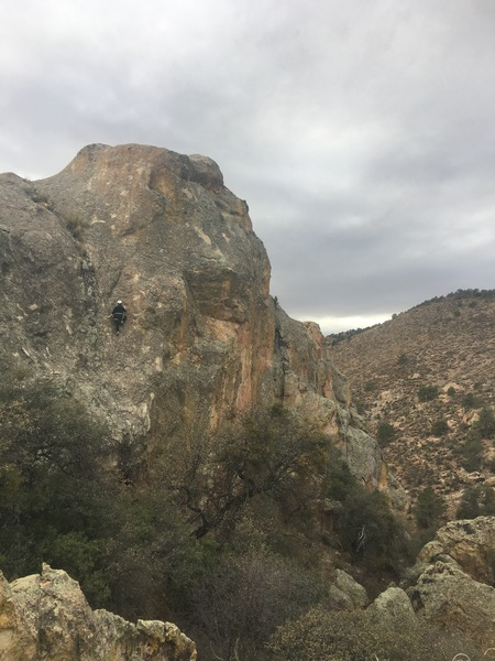 NRG climbs an unnamed 5.9 at Saddle Rock Crag, outside of Silver City, New Mexico.