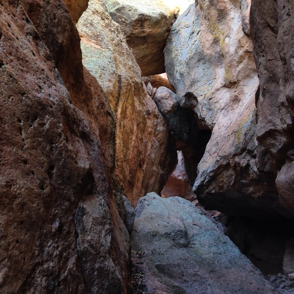 The slot canyon section of the Saddle Rock climbing area, west of Silver City, New Mexico.