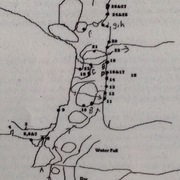 Detail of numbered overview map/sketch of Saddle Rock Main climbing area. This detail focuses on the slot canyon.