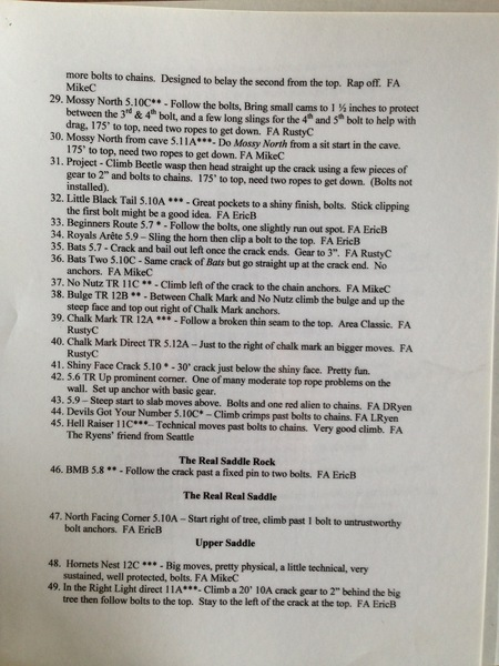 Page 3 of numbered index for sport routes in the Saddle Rock Main climbing area.
