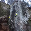 Second boulder. Yellow Xs mark the start