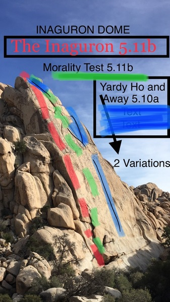 Inaguron Dome. RED (the inaguron 5.11b). GREEN (Morality Test 5.11b). BLUE (Yardy Ho and Away 5.10a - Route forks into 2 variations close to the top)