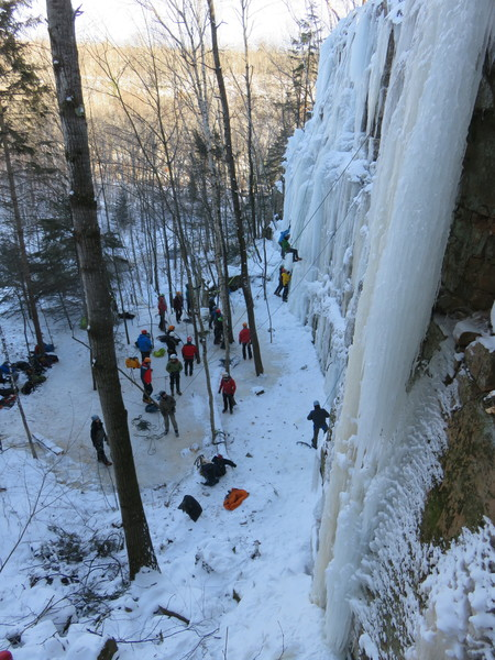 The newly farmed School Room area hosts introductory clinics at the thirteenth annual Sandstone Ice Festival.<br> 6Jan18