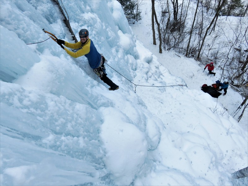 Steve leading a fat section of The Derrick Wall.<br> 20Jan18