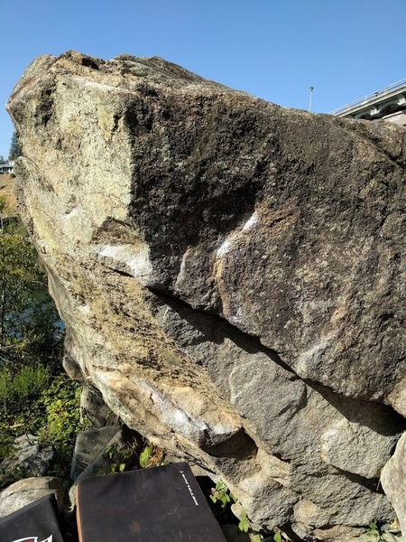 Right side of main boulder.